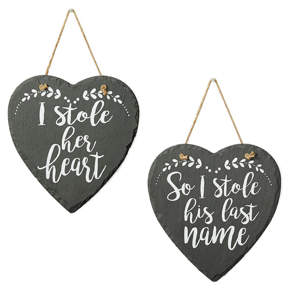 I Stole Her/ His Last Name Slate Signs - DII Design Imports