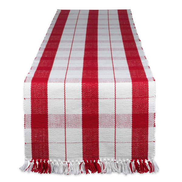 Red Tinsel Fringed Table Runner - 13 x 72""