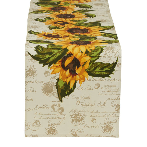 Wholesale Rustic Sunflowers Printed Table Runner - DII Design Imports