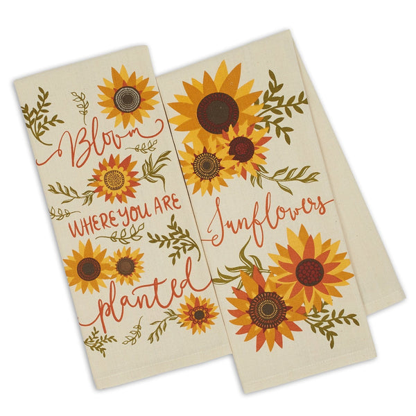 Wholesale Sunny Sunflowers Printed Dishtowels - DII Design Imports