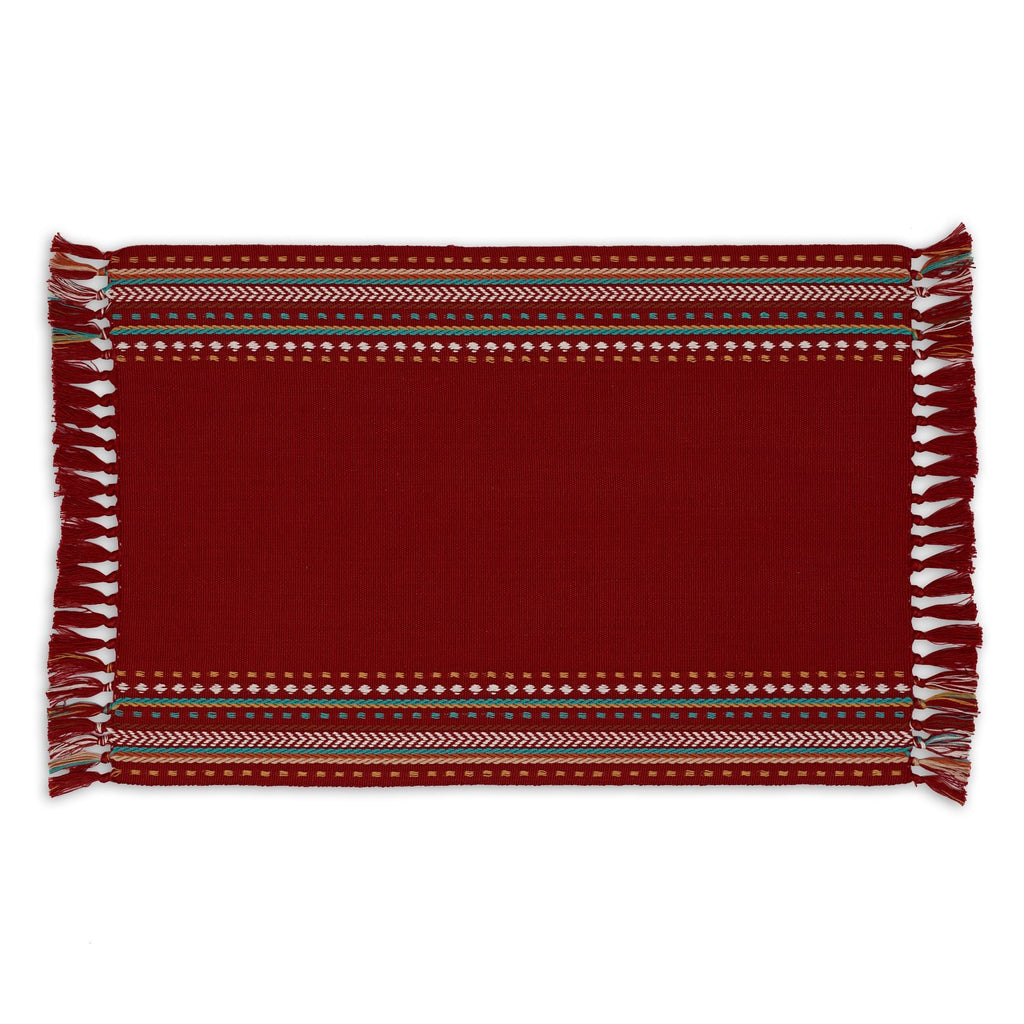 Red Chipotle Hacienda Stripe Fringed Placemat - DII Design Imports