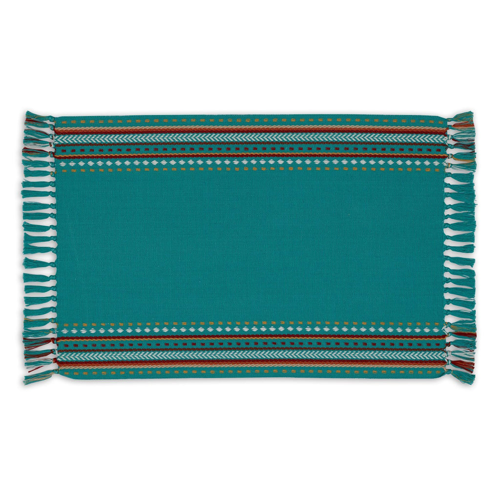 Agate Blue Hacienda Stripe Fringed Placemat - DII Design Imports