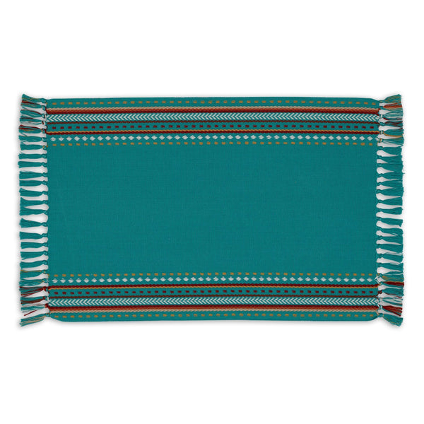 Wholesale Agate Blue Hacienda Stripe Fringed Placemat - DII Design Imports