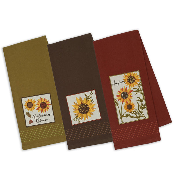 Rustic Sunflower Embellished Dishtowels - Mixed Dozen - DII Design Imports