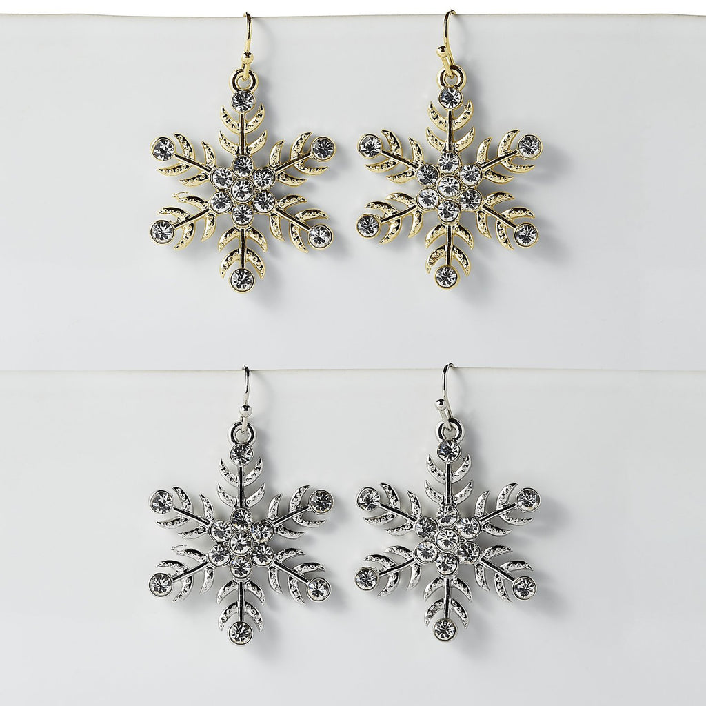 Sparkling Snowflakes Dangle Earrings - DII Design Imports