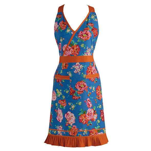 Wholesale Blue Floral with Orange RicRac Vintage Apron - DII Design Imports