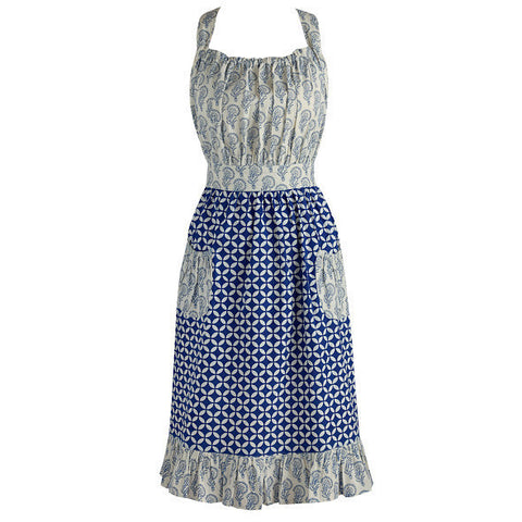 Wholesale - Blue and White Mixed Vintage Apron - DII Design Imports
