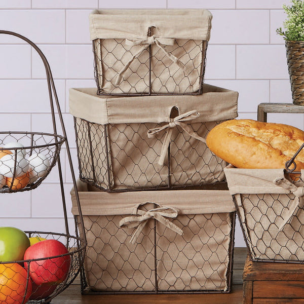 Chicken Wire Basket Set/3 Natural Fabric Liner - DII Design Imports