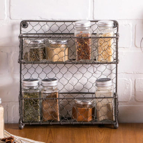 Wholesale 2 Tier Chicken Wire Spice Rack- Rustic Finish - DII Design Imports
