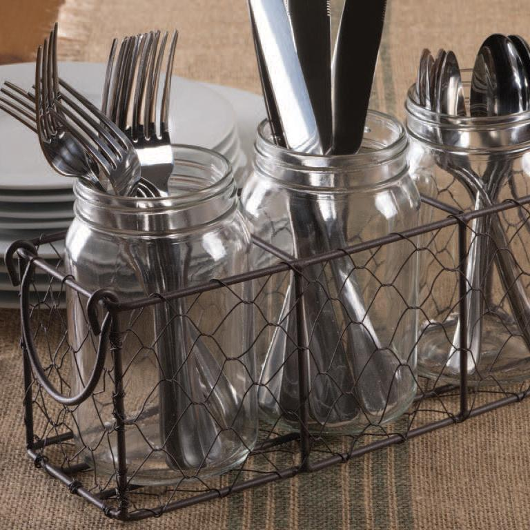 Rustic Chicken Wire Flatware Caddy with Clear Jars- Rustic Finish - DII Design Imports