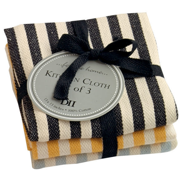 Petite Stripe Heavyweight Dishcloths - Set of 3 - DII Design Imports