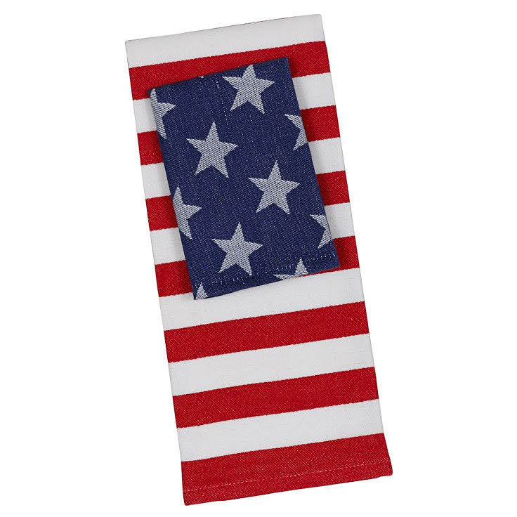 Wholesale Stars & Stripes Dishtowel and Dishcloth - Set of 2 - DII Design Imports