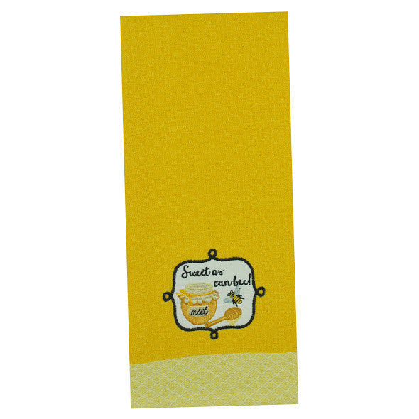 "Wholesale - ""Sweet as can Bee"" Embellished Dishtowel - DII Design Imports - 1"