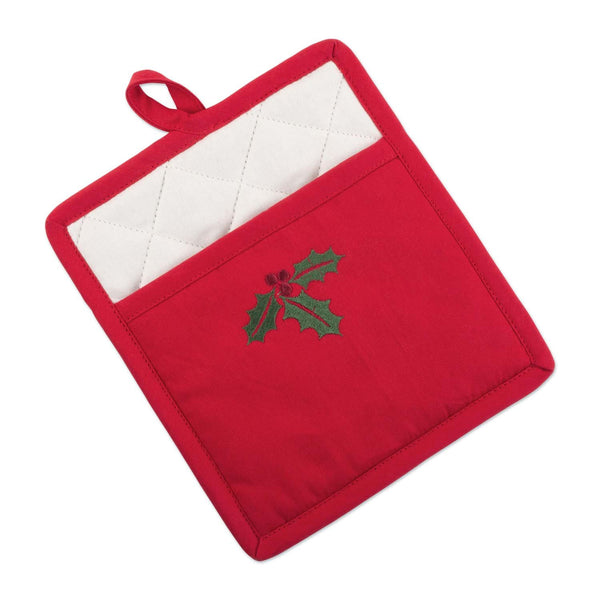 Holly Embroidered Pocket Potholder
