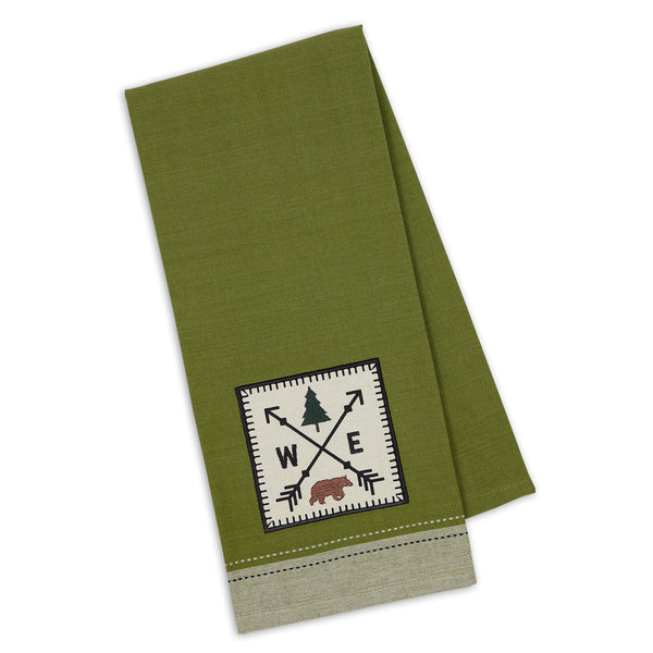 Compass Woods Embellished Dishtowel