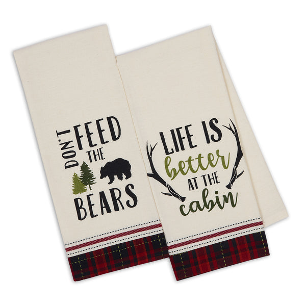 Cabin Rules Embellished Dishtowels Mixed Dozen - DII Design Imports