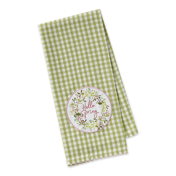 Hello Spring Wreath Embellished Dishtowel