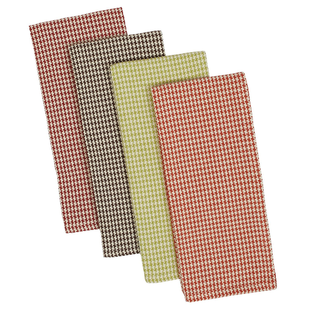Fall Houndstooth Heavyweight Dishtowel Set of 4
