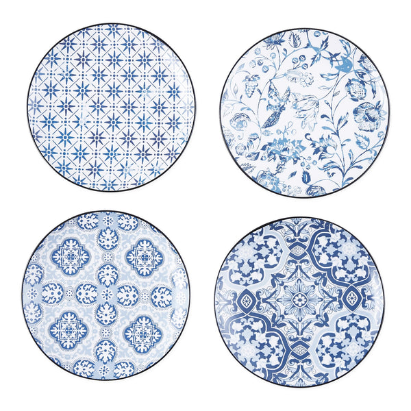Porto Blue Tile Porcelain Appetizer Plate Set of 4