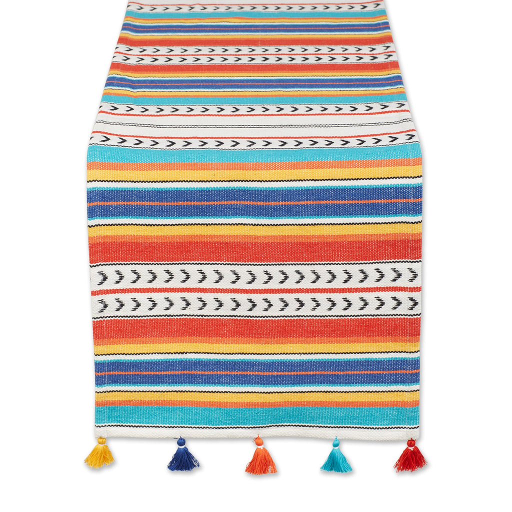 PICANTE STRIPE TASSEL TABLE RUNNER - 13 X 72""