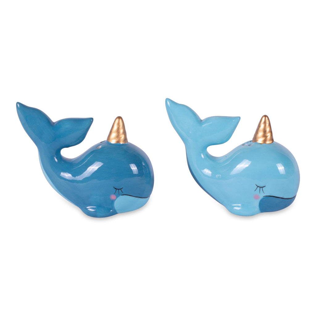 NARWHAL CERAMIC SALT & PEPPER SHAKERS