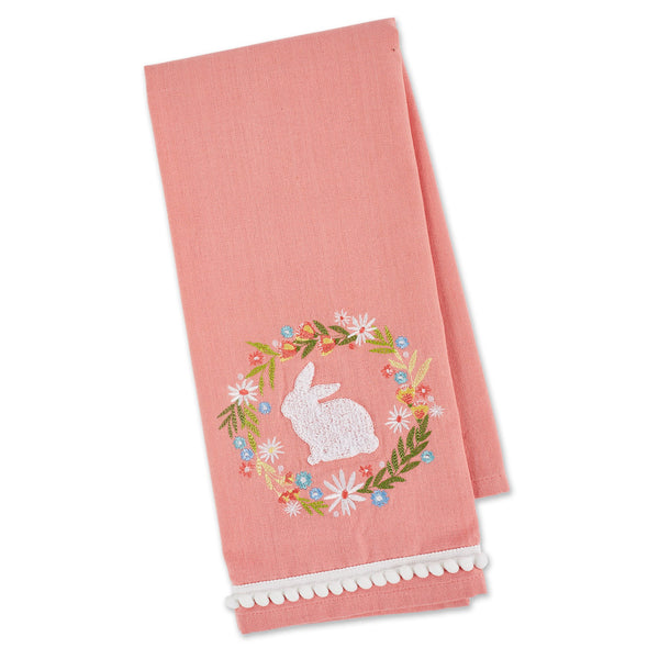 RABBIT WREATH EMBELLISHED DISHTOWEL