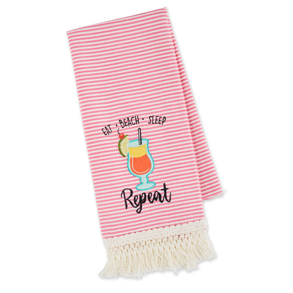 EAT, BEACH, SLEEP - REPEAT EMBELLISHED DISHTOWEL