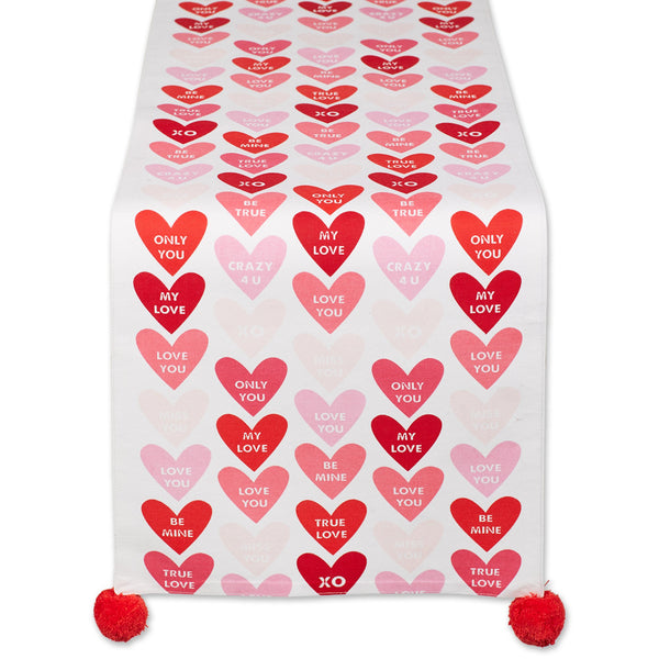 Conversation Hearts Embellished Table Runner