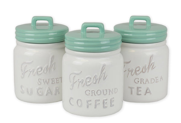 Aqua Ceramic Jar Canister Set of 3 - DII Design Imports