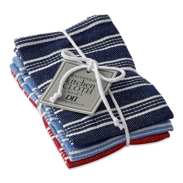 Starboard Stripe Heavyweight Dishcloth Set of 3 - DII Design Imports