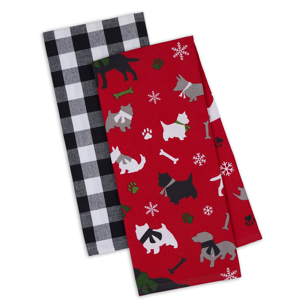 Christmas Dog Silhouettes Dishtowel Set of 2