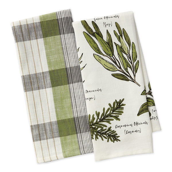 Culinary Herb Guide Dishtowel Set of 2