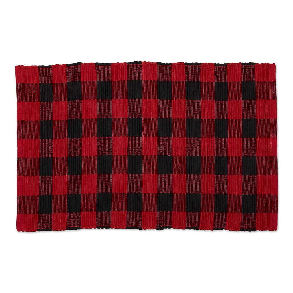 Red/Black Buffalo Check Chindi Rug - DII Design Imports