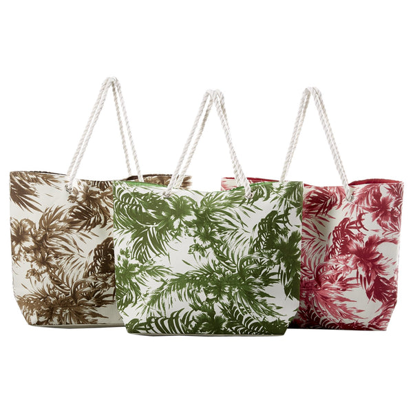 Palm Print Beach Bags - 3 Pack