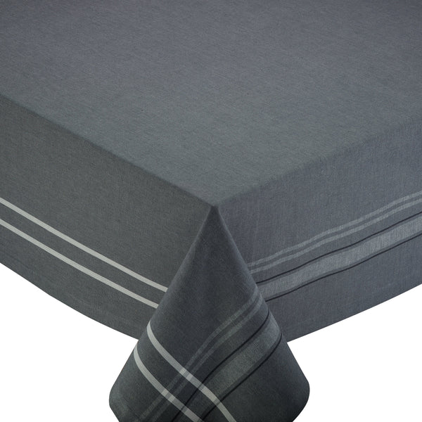 GRAY FRENCH CHAMB 60 x 104 TABLECLOTH