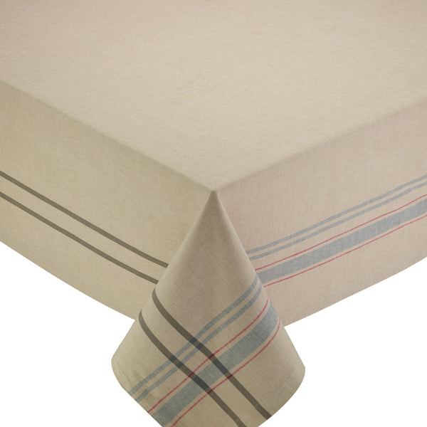 NATURAL FRENCH STRIPE 60 x 84 TABLECLOTH