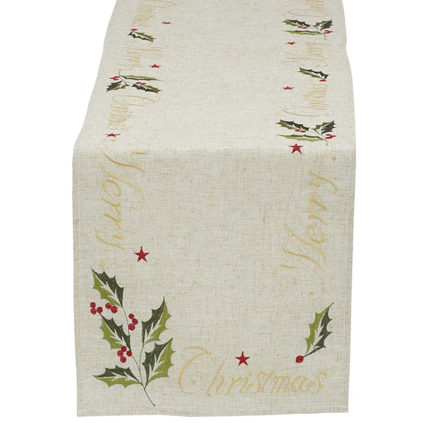 """Merry Christmas"" Embroidered Table Runner - 14 x 70"""