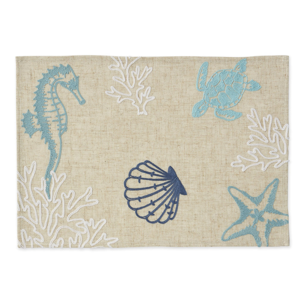 Seashore Embroidered Placemat - DII Design Imports