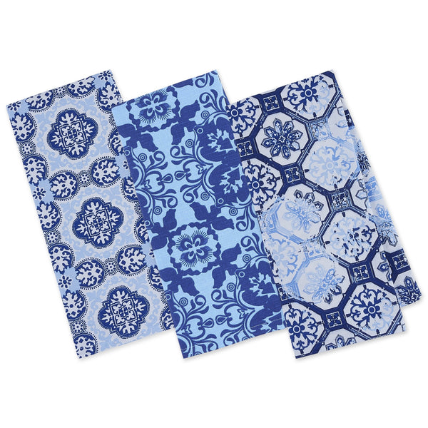 Porto Blue Printed Dishtowels - Mixed Dozen - DII Design Imports
