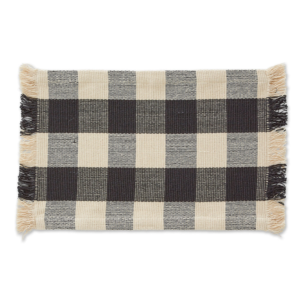 BLACK CHECK FRINGE PLACEMAT