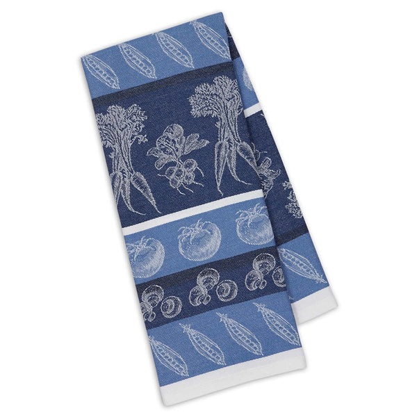 Marine Blue Veggies Jacquard Dishtowel