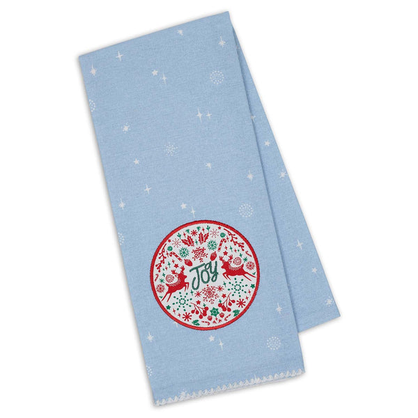 Joy Holiday Embellished Dishtowel
