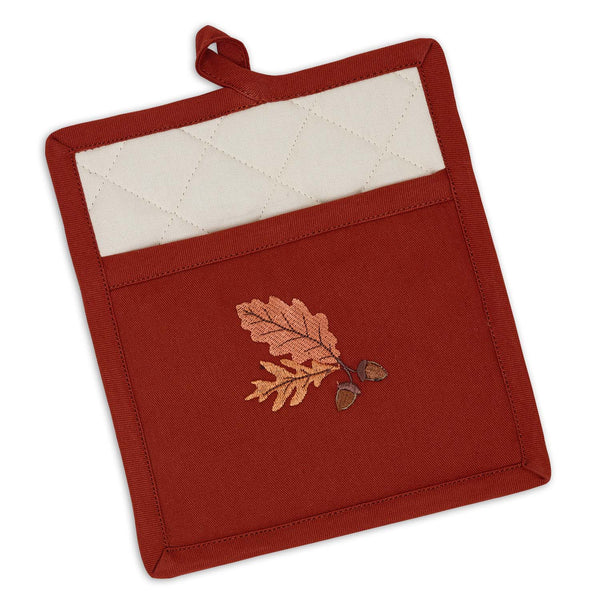 Acorn Oak Embroidered Pocket Potholder