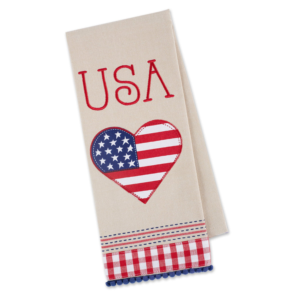 USA AMERICANA LOVE EMBELLISHED DISHTOWEL