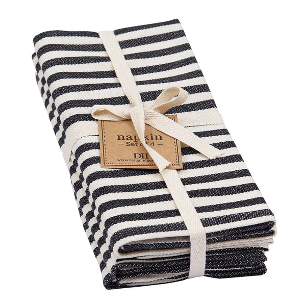 Black Petite Stripe Napkin Set of 4