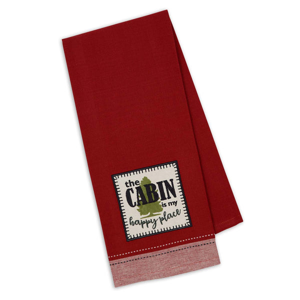 Cabin Happy Embellished Dishtowel