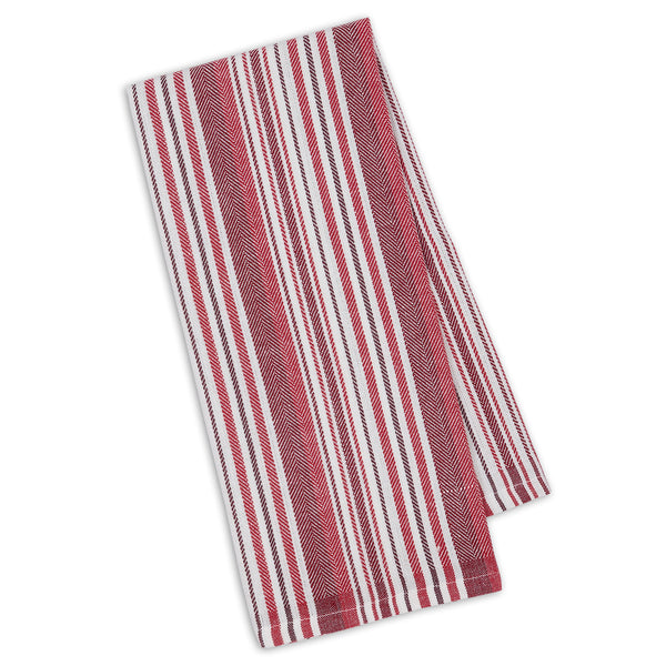 Garnet Herringbone Stripe Dishtowel