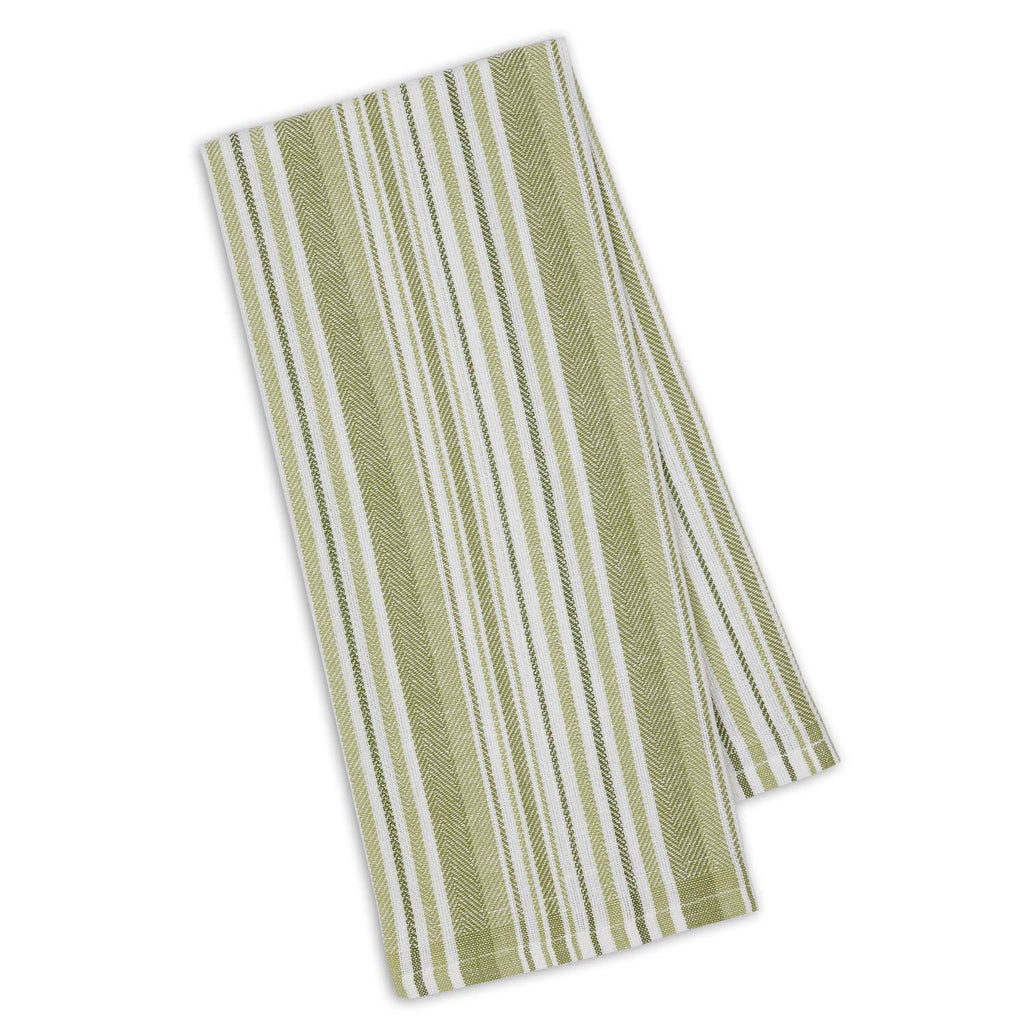 Parsley Green Herringbone Stripe Dishtowel - DII Design Imports
