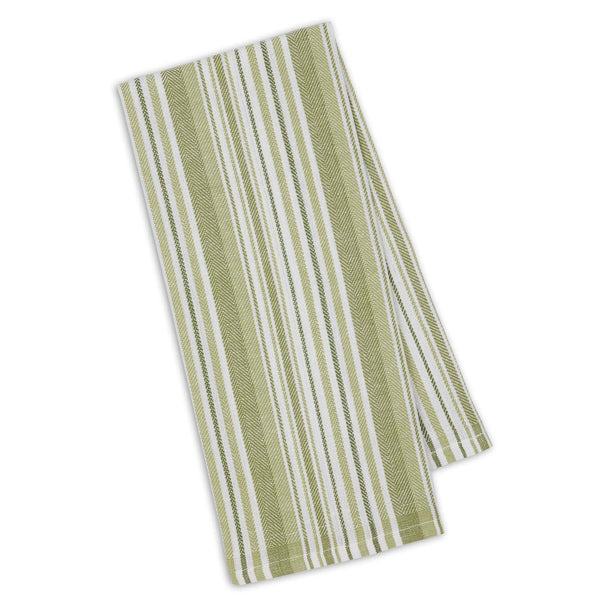 Parsley Green Herringbone Stripe Dishtowel