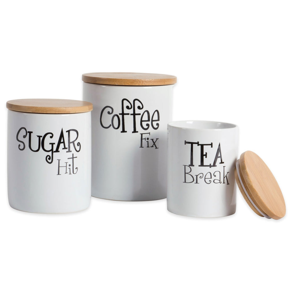 White Ceramic Canister Set of 3 - DII Design Imports